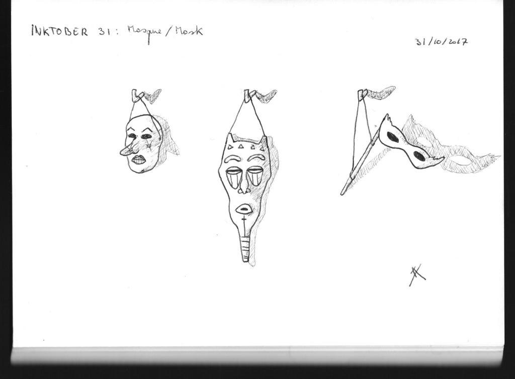 Inktober 31 - Mask by Moca13