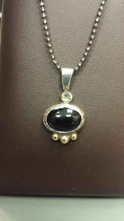 Onyx  peridot silver  bronze pendant