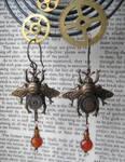 Amber Steampunk Bee Earrings by NobleStudiosLtd