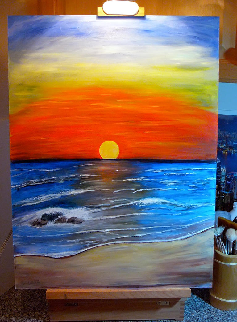 Easy beach sunset paintings the image for Acrylic mural paints