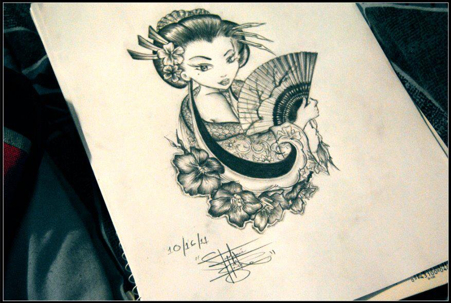 geisha tattoo design by stephanie isidro by stephanieisidro on deviantart. Black Bedroom Furniture Sets. Home Design Ideas