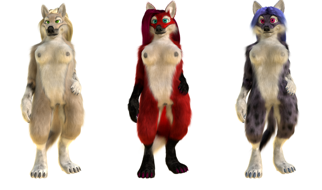 Blender model - Anthro wolf, fox, cat by MirceaKitsune