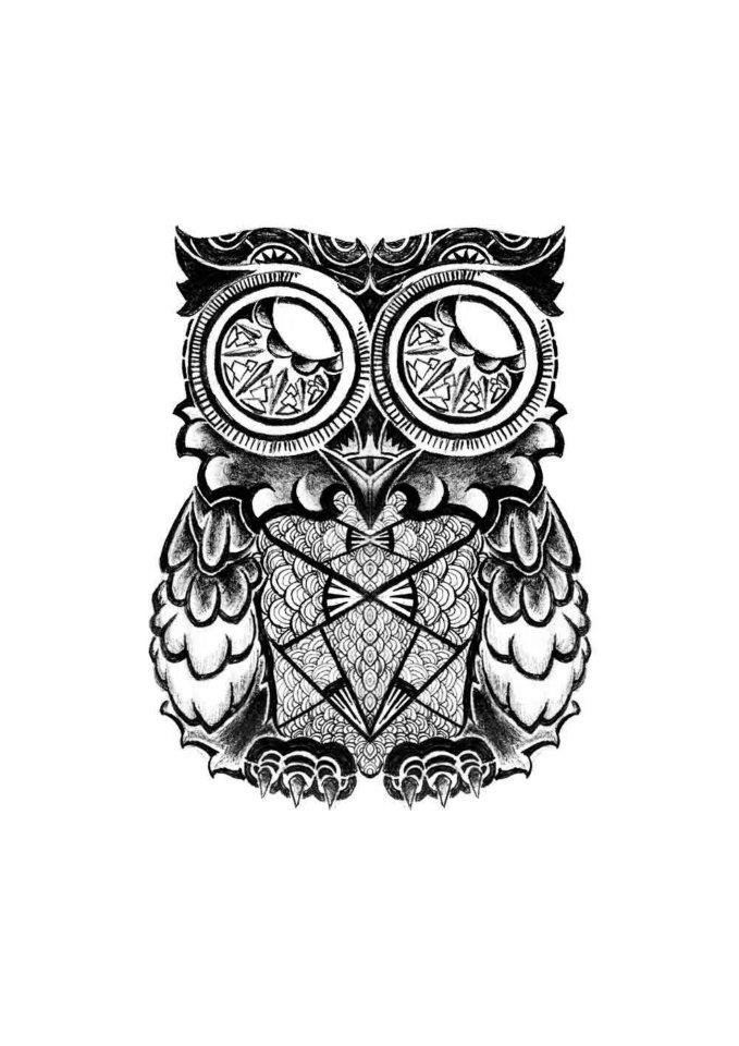 maori owl tattoo by asilkandemirer on deviantart. Black Bedroom Furniture Sets. Home Design Ideas