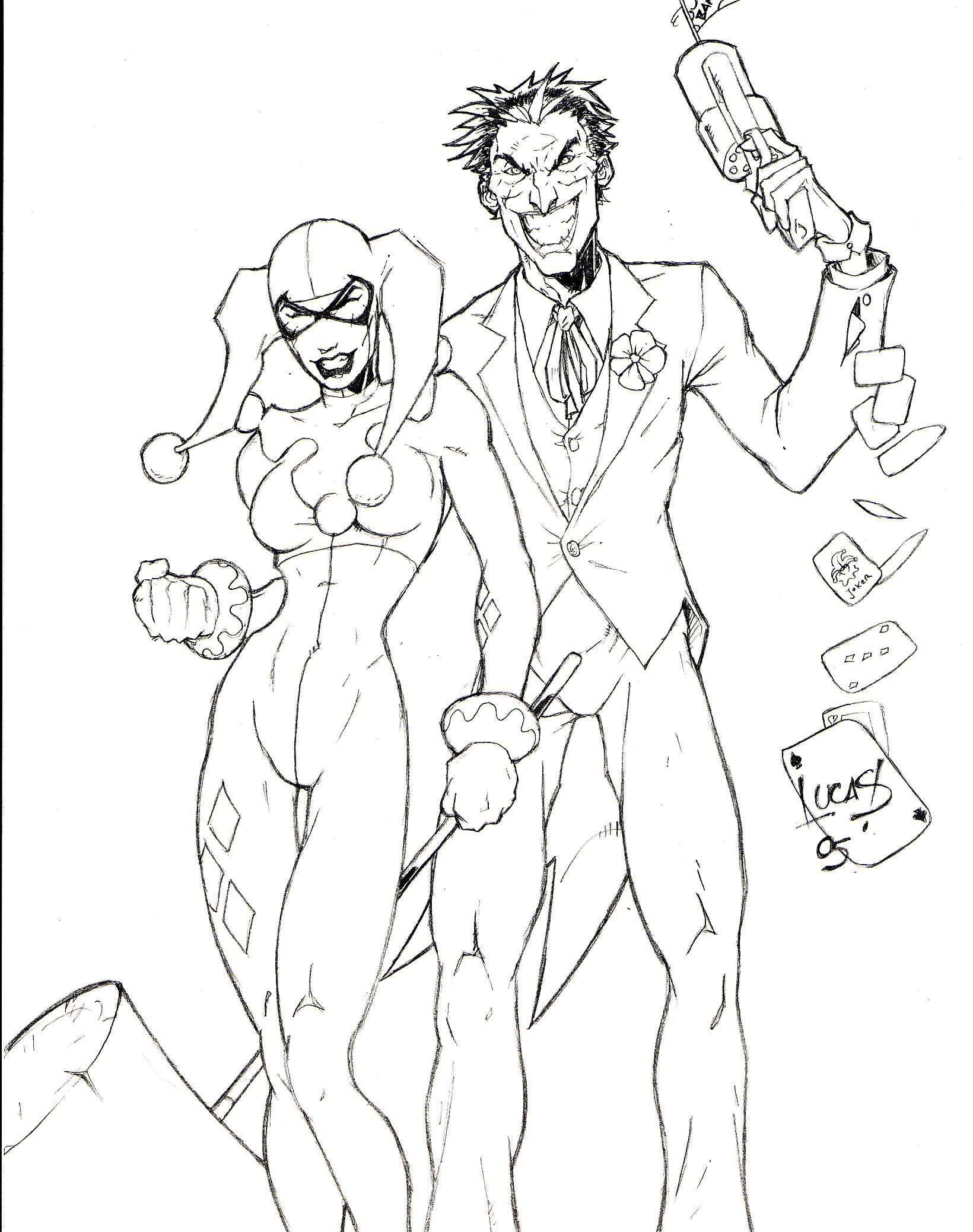 Harley Quinn And Joker Coloring Pages For Adults Coloring
