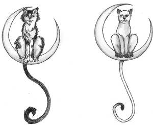 Cat in moon tattoos