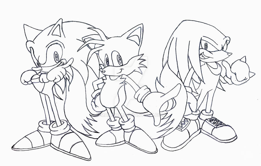 Team sonic by malicon on deviantart for Sonic and knuckles coloring pages