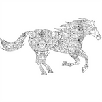 Black-horse-coloring page by MUMTAHA