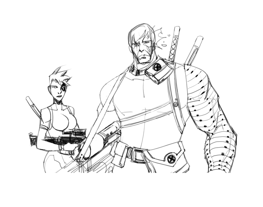 Cable quick sketch line art by profesone