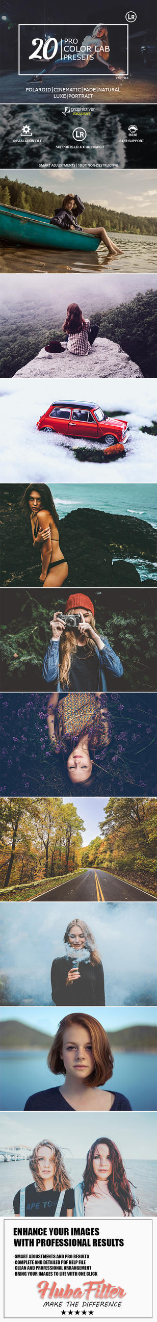 20 Color Lab Lightroom Presets by hubafilter