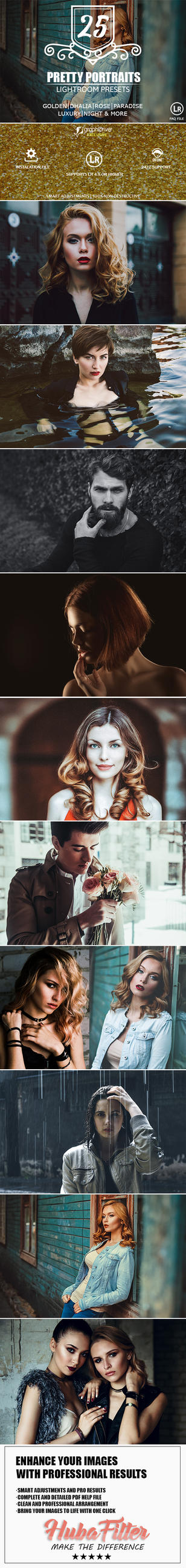 25 Pretty Portraits Lightroom Presets by hubafilter