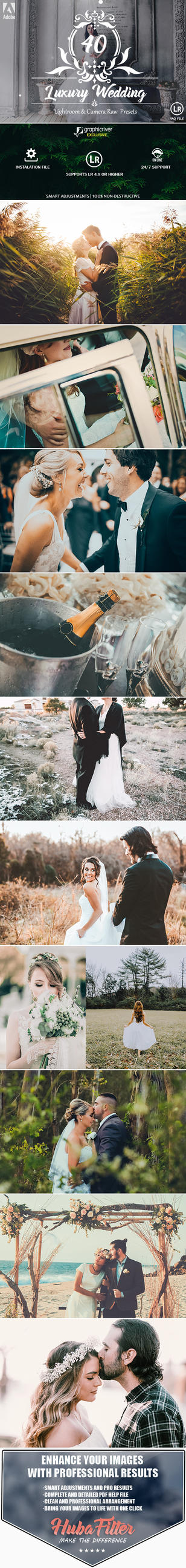 40 Luxury Wedding Lightroom and Camera RAW Presets by hubafilter