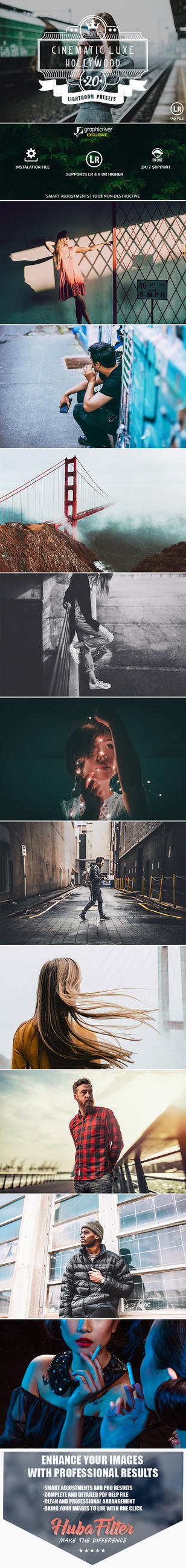 20 Cinematic Luxe Hollywood Lightroom Presets by hubafilter