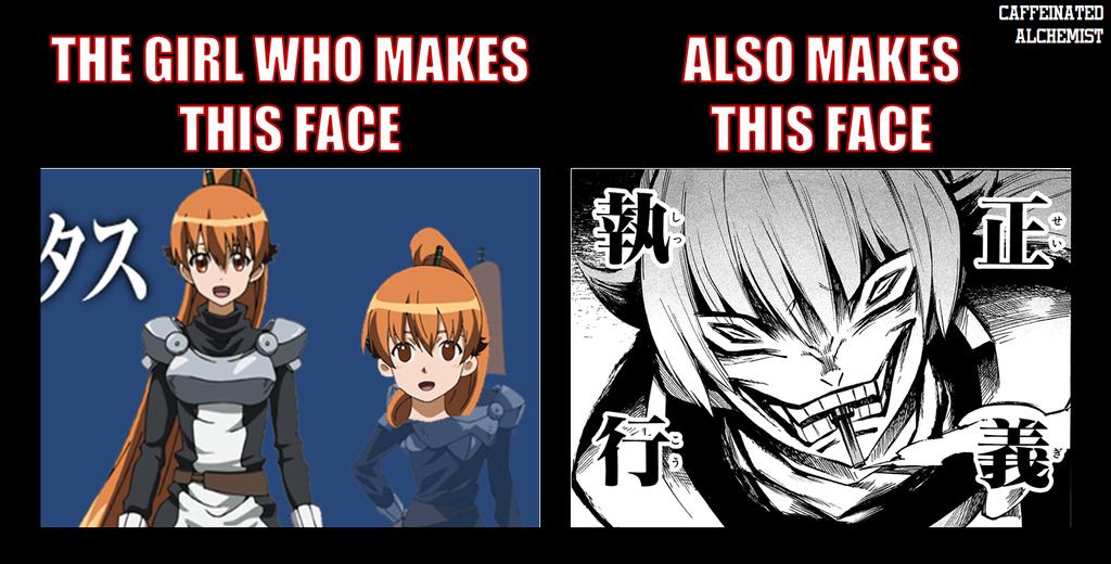 Psycho Cartoon Face Seryuu Normal vs Psycho Face