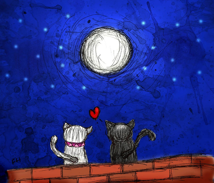 Love Cats Moon Love Cats And Moon by Fchr93