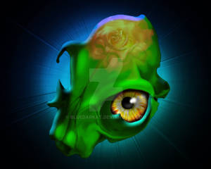 Spooky Green Skull with Yellow Look