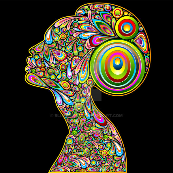 Woman Psychedelic Art Design Portrait by Bluedarkat