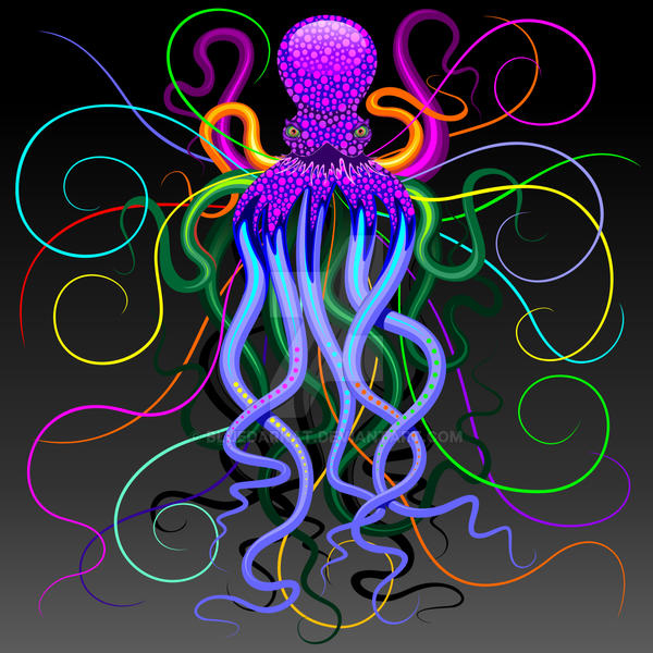Octopus Psychedelic Luminescence by Bluedarkat