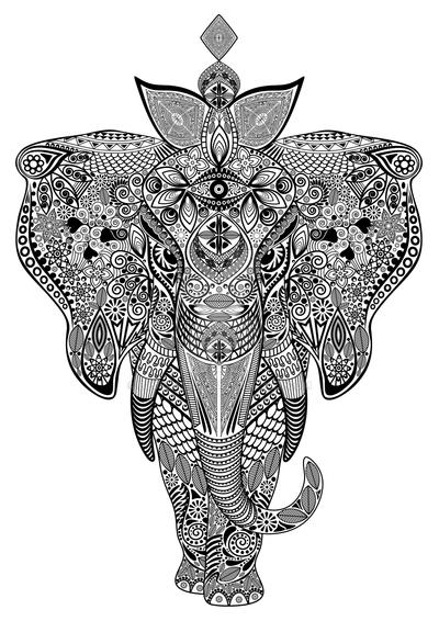 Elephant Zentangle Doodle Black and White by Bluedarkat