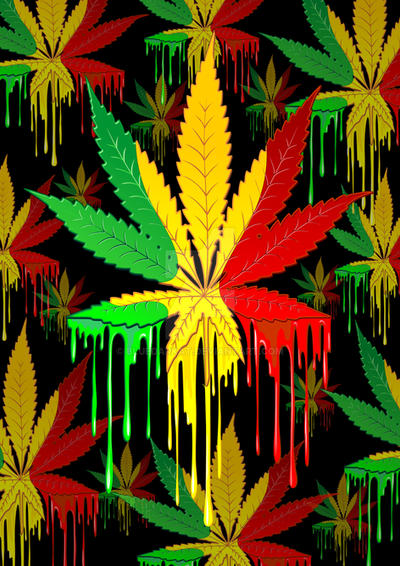 Marijuana Leaf Rasta Colors Dripping Paint by Bluedarkat