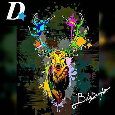 Deer Popart Dripping Paint Poster by Bluedarkat