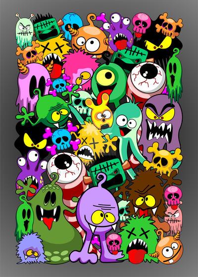 Monsters Doodles Spooky Characters Saga by Bluedarkat