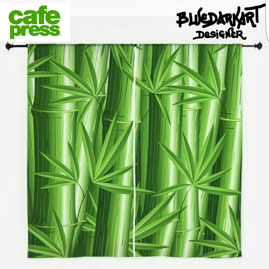 Zen Green Bamboo  Curtains  by BluedarkArt by Bluedarkat