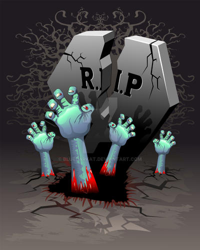 Zombies Bloody Hands on Cemetery by Bluedarkat