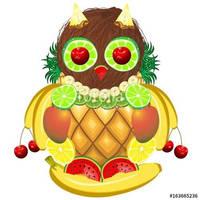 Owl Juicy Fruits  Vector Illustration by Bluedarkat