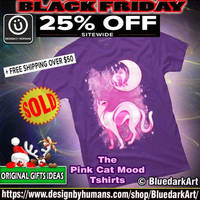 Pink Cat Mood T-shirts - design by BluedarkArt by Bluedarkat