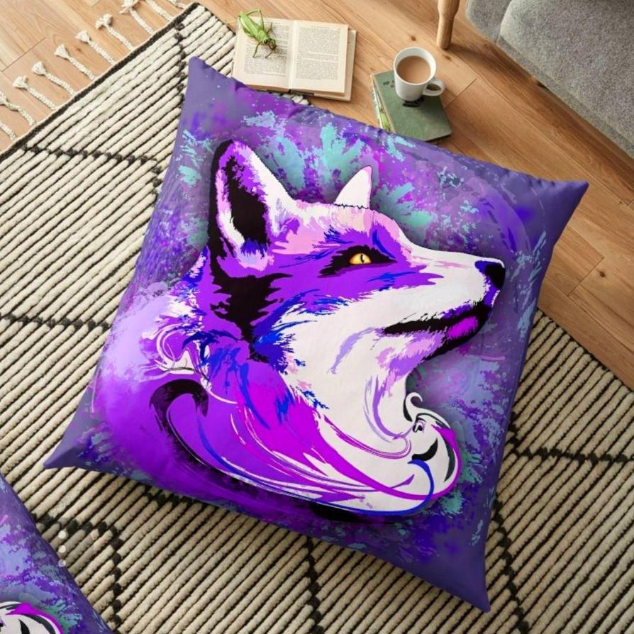 Purple Fox Spirit Pillows by Bluedarkart  by Bluedarkat