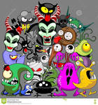 Monsters Doodles Characters Copyright BluedarkArt