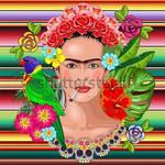 Frida Kahlo Floral Portrait - Vector Illustration