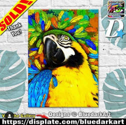 Gold  Blue Macaw Fantasy  by BluedarkArt by Bluedarkat