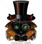 Steampunk Cat Vintage Style by BluedaekArt