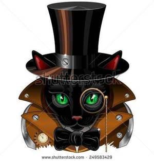 Steampunk Cat Vintage Style by BluedaekArt