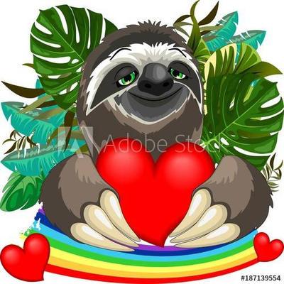 Cute Sloth in Love by BluedarkArt by Bluedarkat