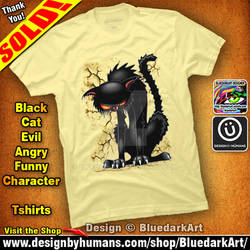 Black Cat Evil Angry Funny Character Tshirts