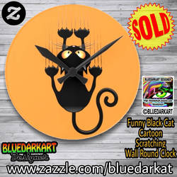 Funny Cat wall clock  design  BluedarkArt