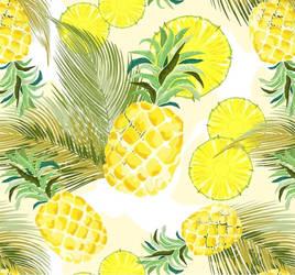 Pineapple Watercolour Pattern by BluedarkArt