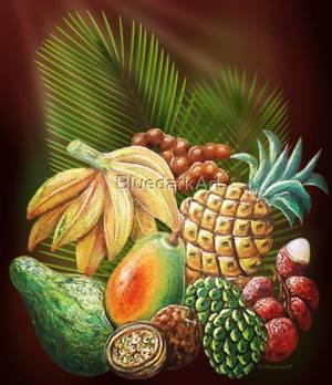 Exotic Fruits Still Life  #BluedarkArt