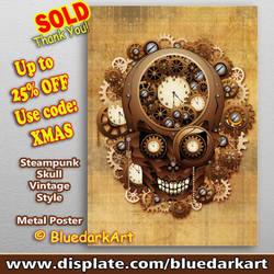 Steampunk Skull Vintage Style Posters