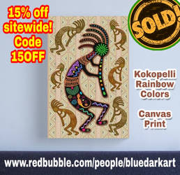 Kokopelli Rainbow Colors by BluedarkArt