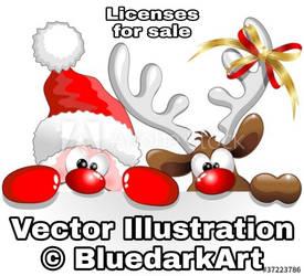 Santa  Reindeer Copyright BluedarkArt