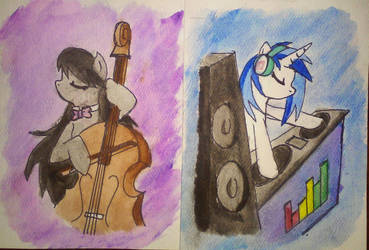 Octavia and Vinyl Scratch: Watercolor Paintings by Iven-Furrpaw