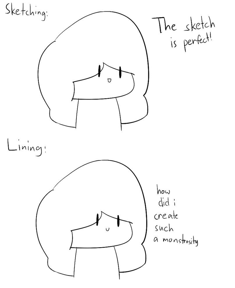 Sketching vs Lining by ZyraUy