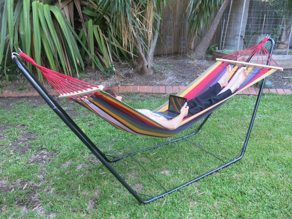 Small Multi Colour Canvas Hammock Stand  56789.142 by danbradster