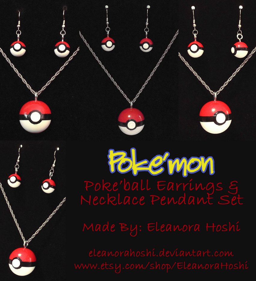 Poke'mon - Poke'ball Earrings and Necklace Pendant by EleanoraHoshi
