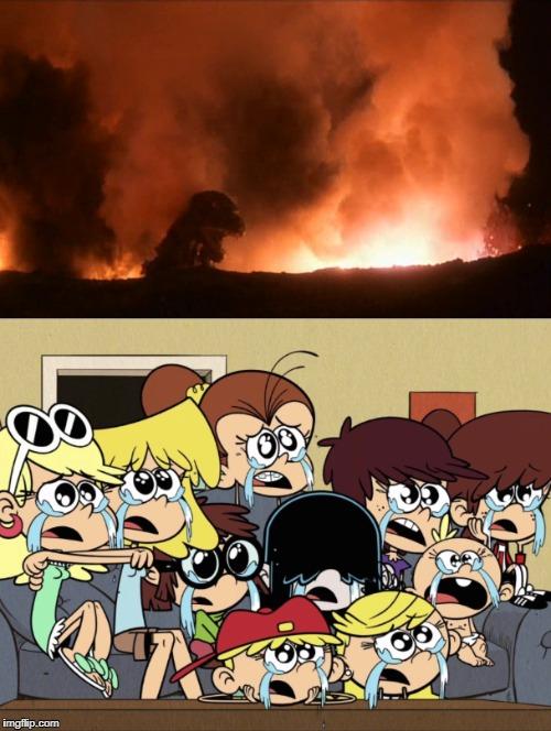 Loud Sisters Sad Watching Godzilla 1985 Ending By