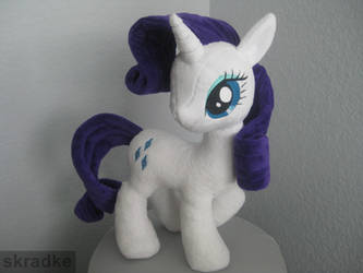 Rarity custom plush - using new pony body pattern by GreenTeaCreations
