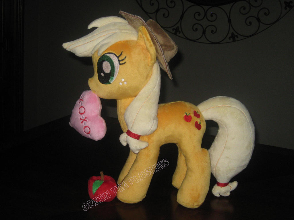 Applejack Plush with Plush apple, and Plush Heart by GreenTeaCreations